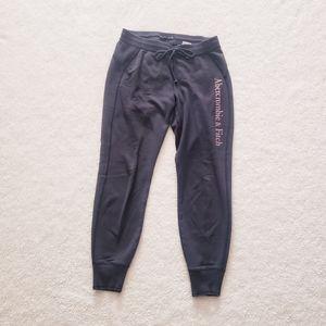 Abercrombie Navy Sweatpants with Purple Logo